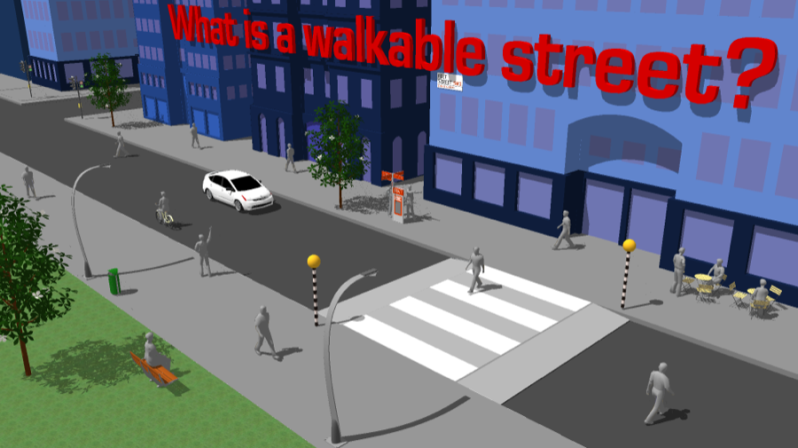 What is a walkable street?